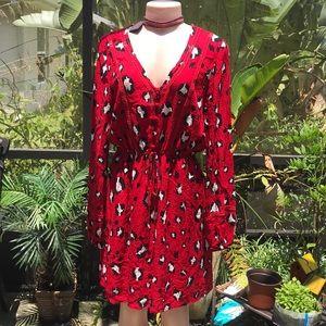 C+ V Chelsea & Violet animal print red dress NWT